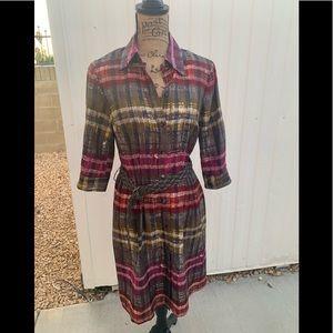Trina Turk Silk Shirt Dress Plaid Belted Sz.6